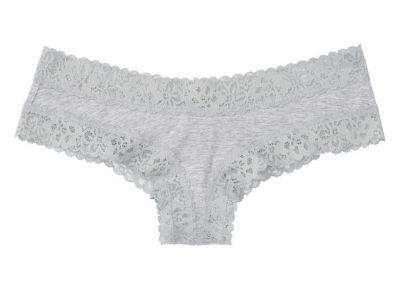Nohavičky Victorias Secret strih Brazilky Cotton Lace (Light Grey)