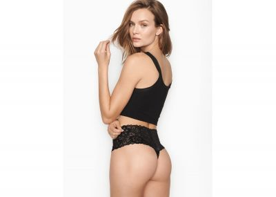 Nohavičky Tanga Victorias Secret Lacie Wide-Waistband (Black)