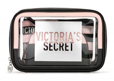 Trio kozmetických taštičiek Victorias Secret (Black / Pink stripe)