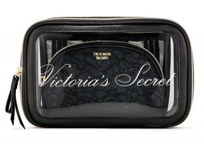 Trio kozmetických taštičiek Victorias Secret (Black Lace)