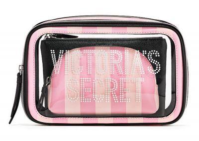 Trio kozmetických taštičiek Victorias Secret (Pink Stripe)