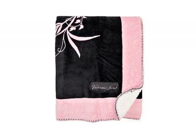Huňatá deka Victorias Secret Sherpa (Black/Pink)